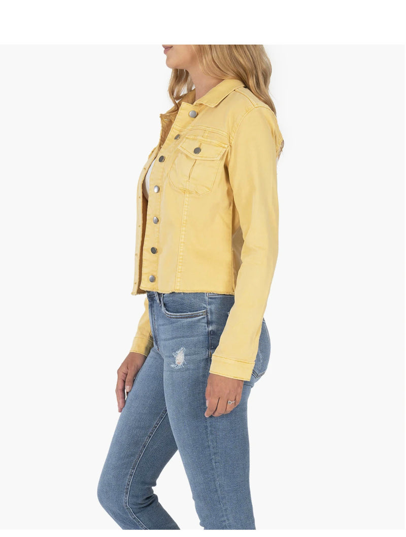 Kut Kara Cropped Jacket in Mustard