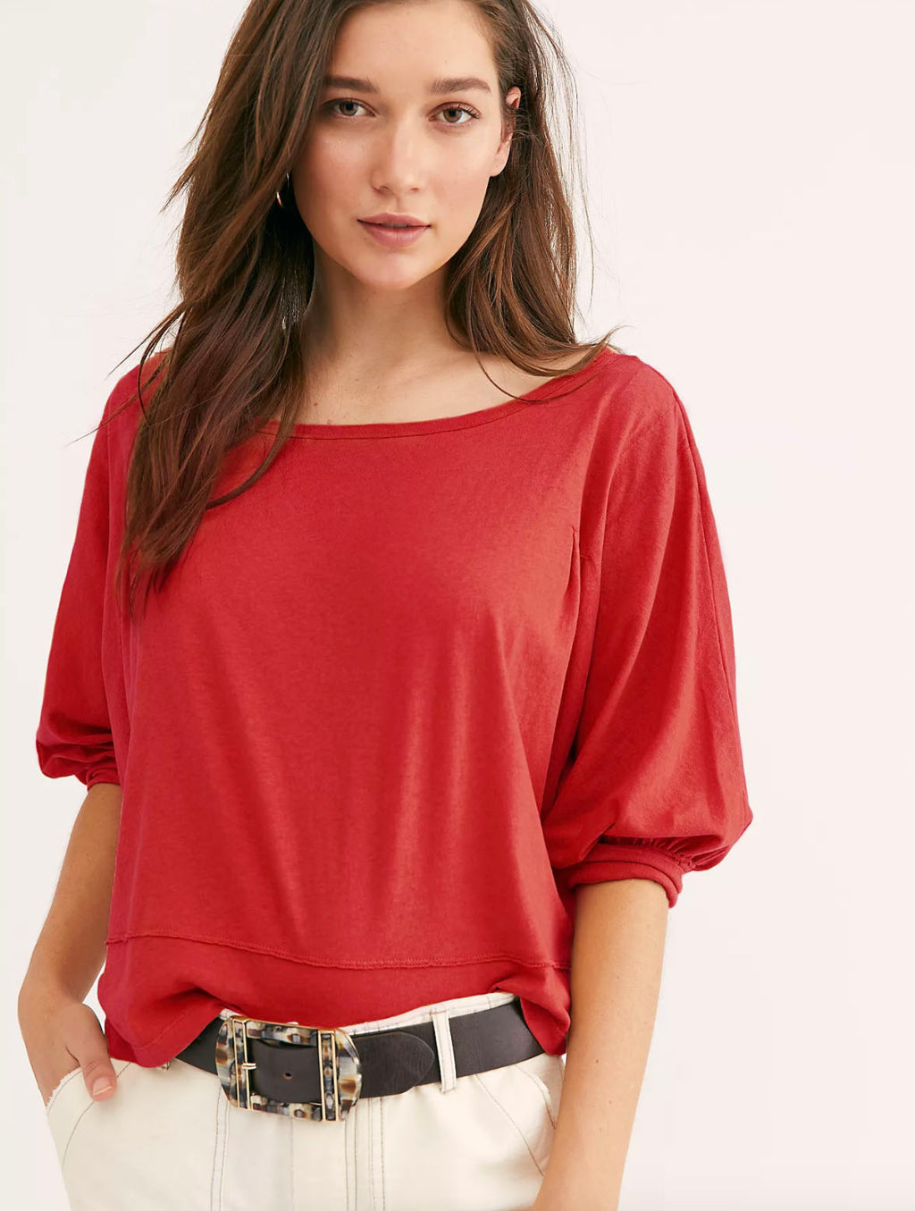 Free People Inspo Tee in Red