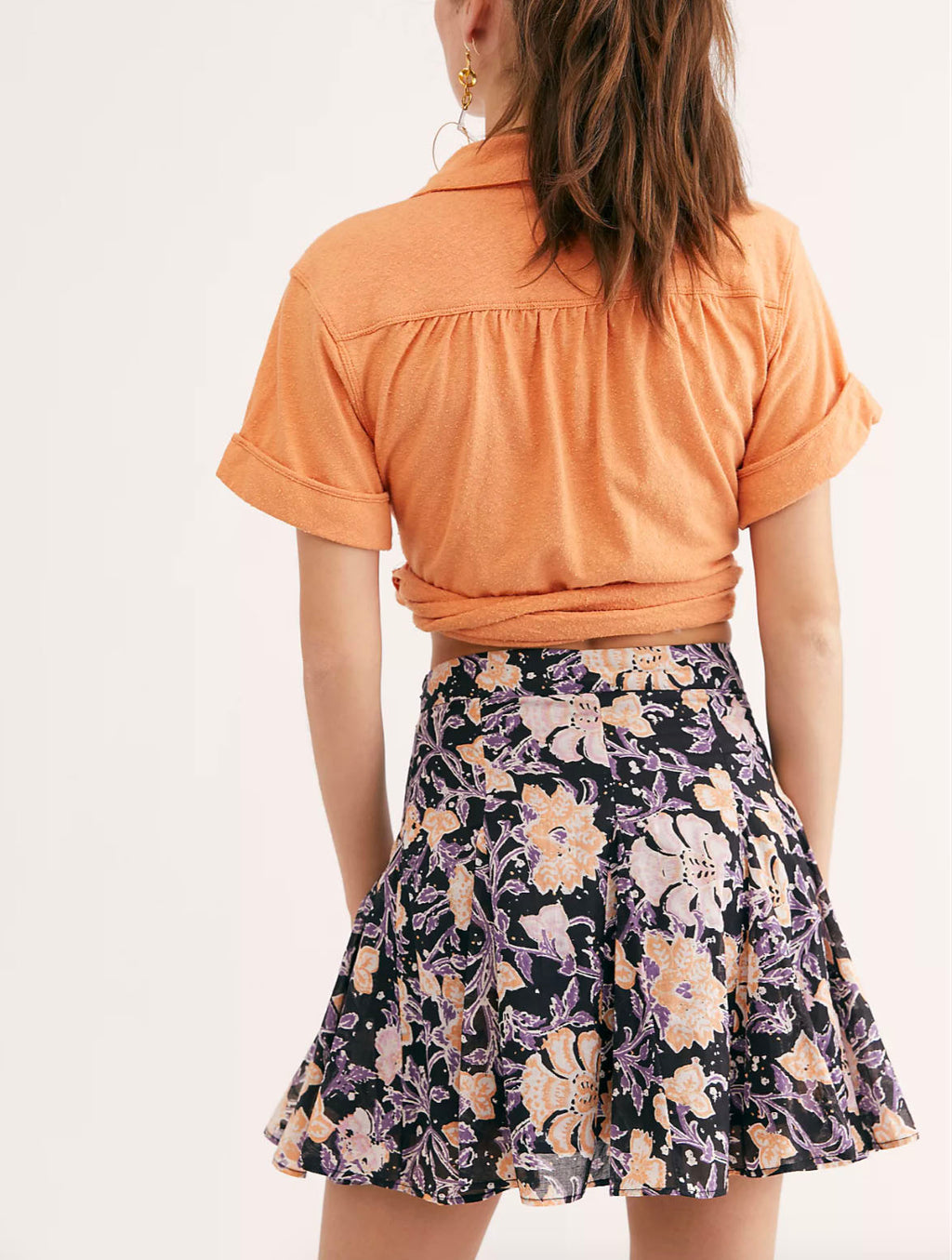 Free People Island Godet Skirt in Washed Black