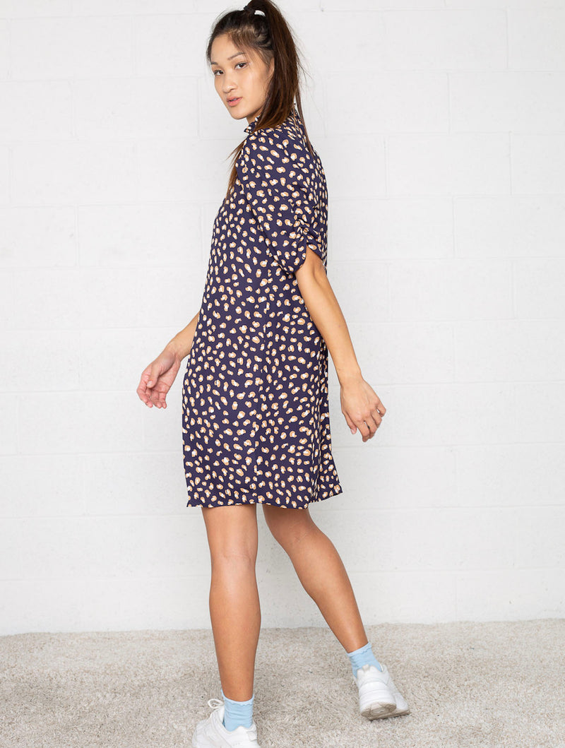 No Less Than Puff Sleeve Dress in Navy
