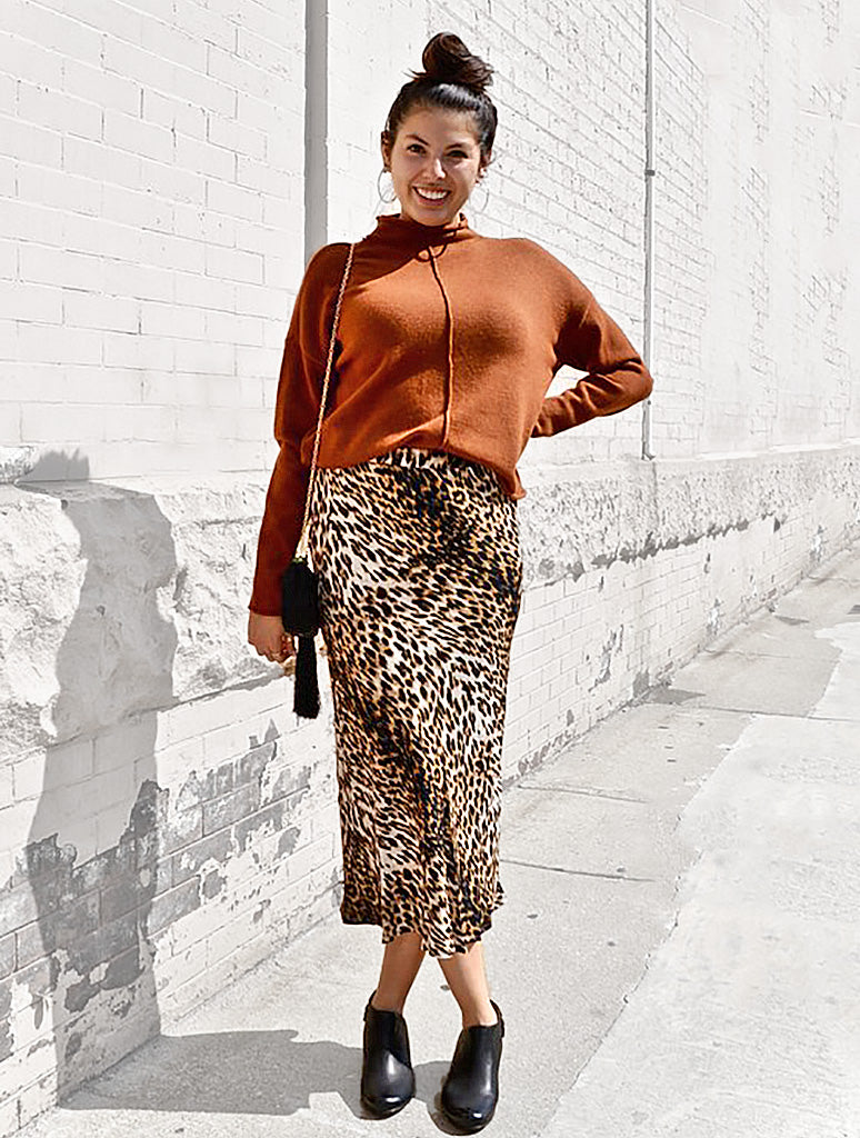 Olivaceous Cheetah Midi Skirt in Tan/Black
