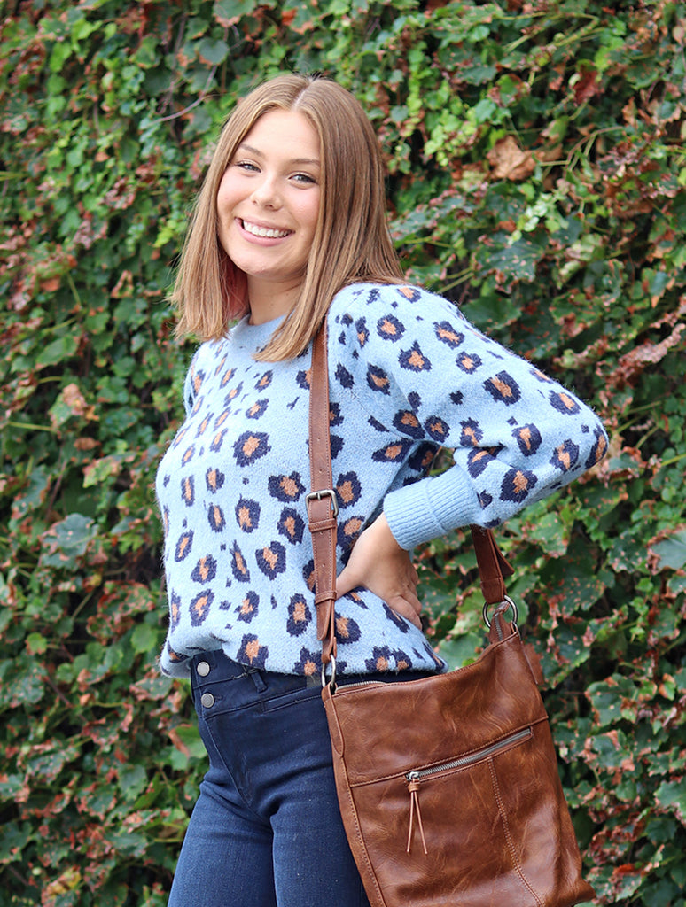 Woven Heart Animal Sweater in Blue