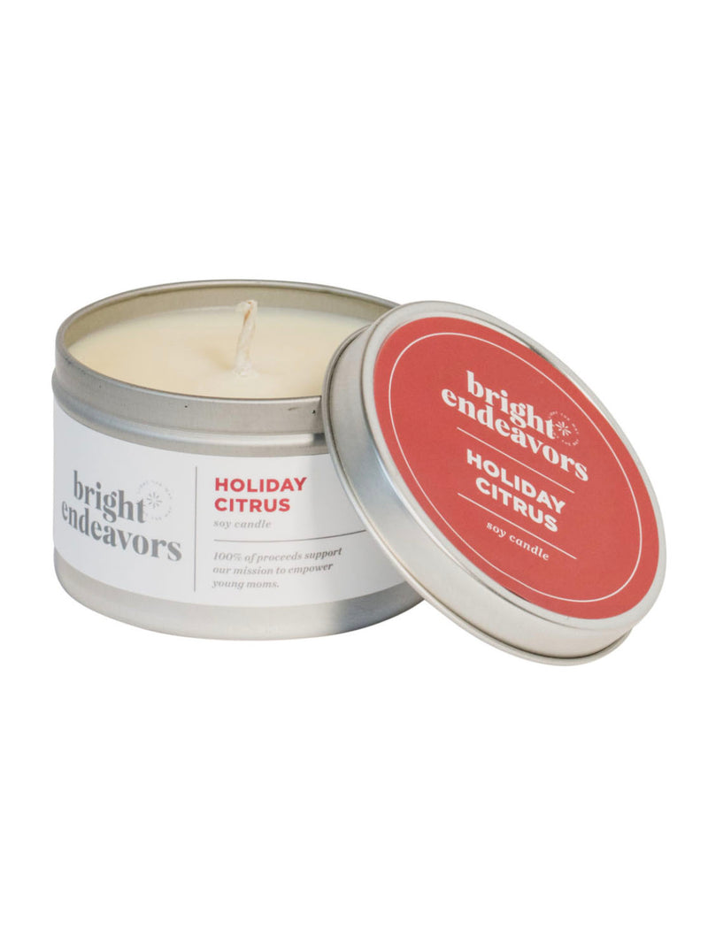 Bright 8oz Large Tin Candle in Holiday Citrus