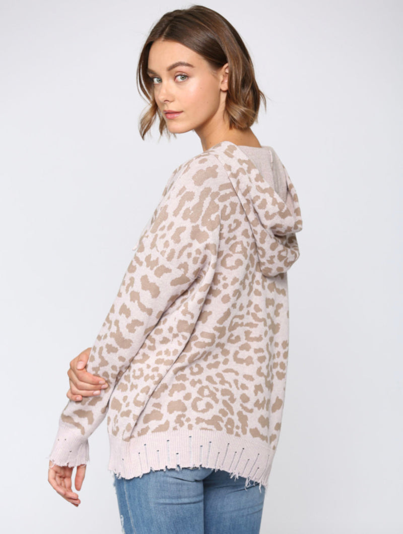 Fate Leopard Hoodie in Lilac/Taupe
