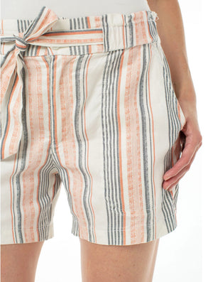 Liverpool Paper Bag Short in Coral Stripe
