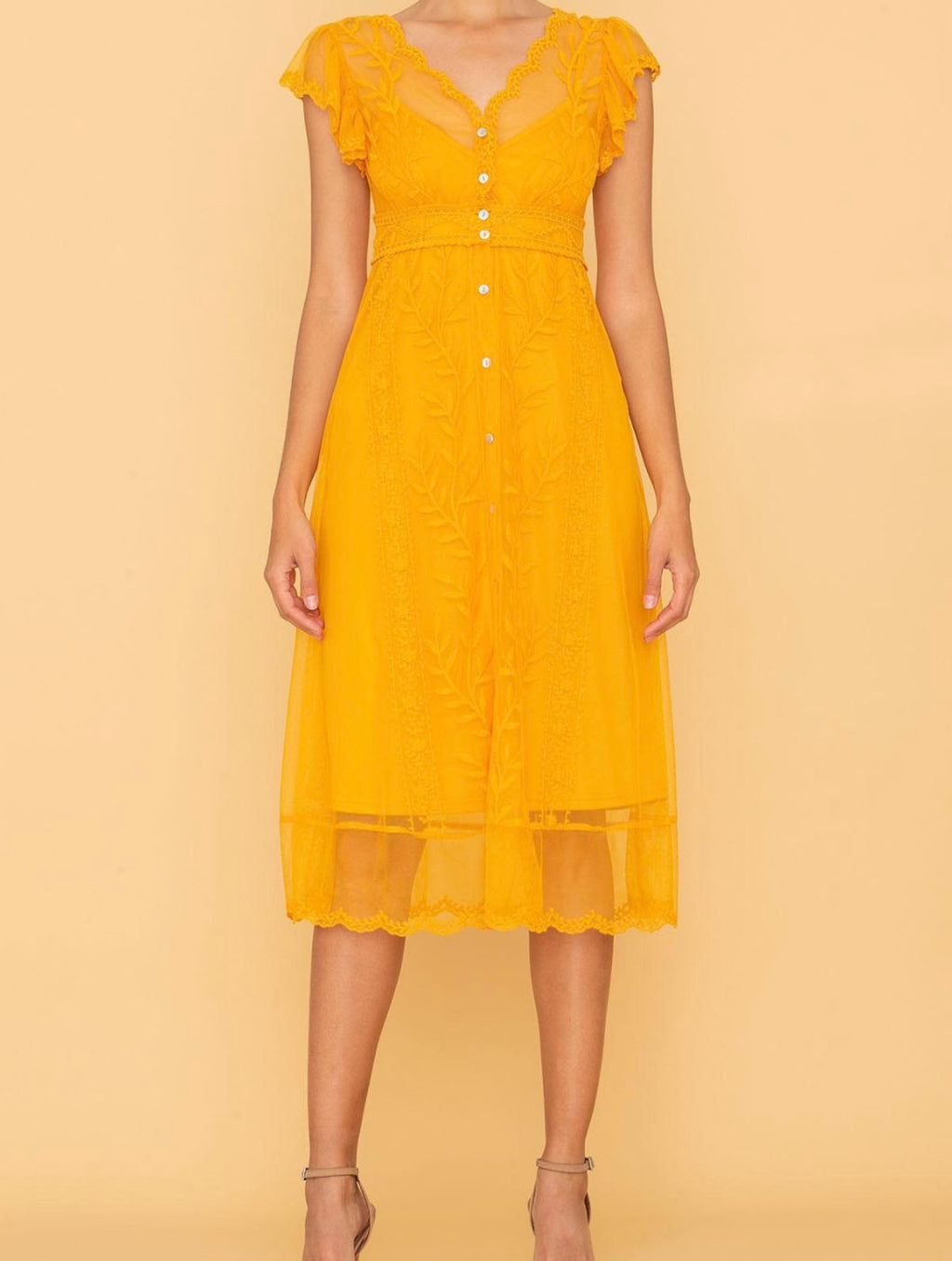 Miss Me Lace Midi Dress in Yellow