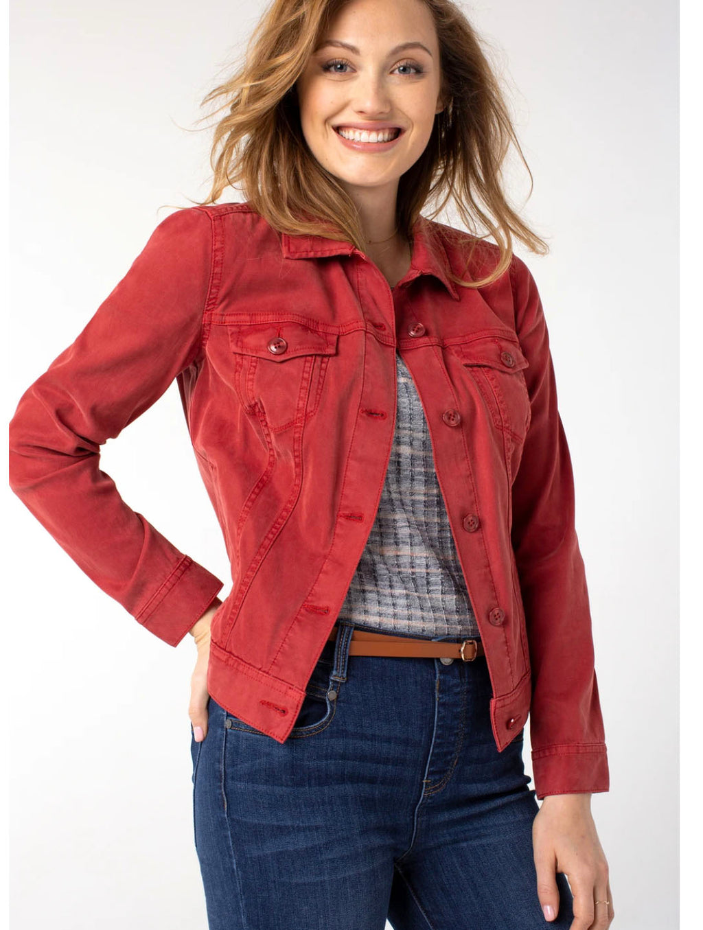 Livepool Denim Jacket in Rouge
