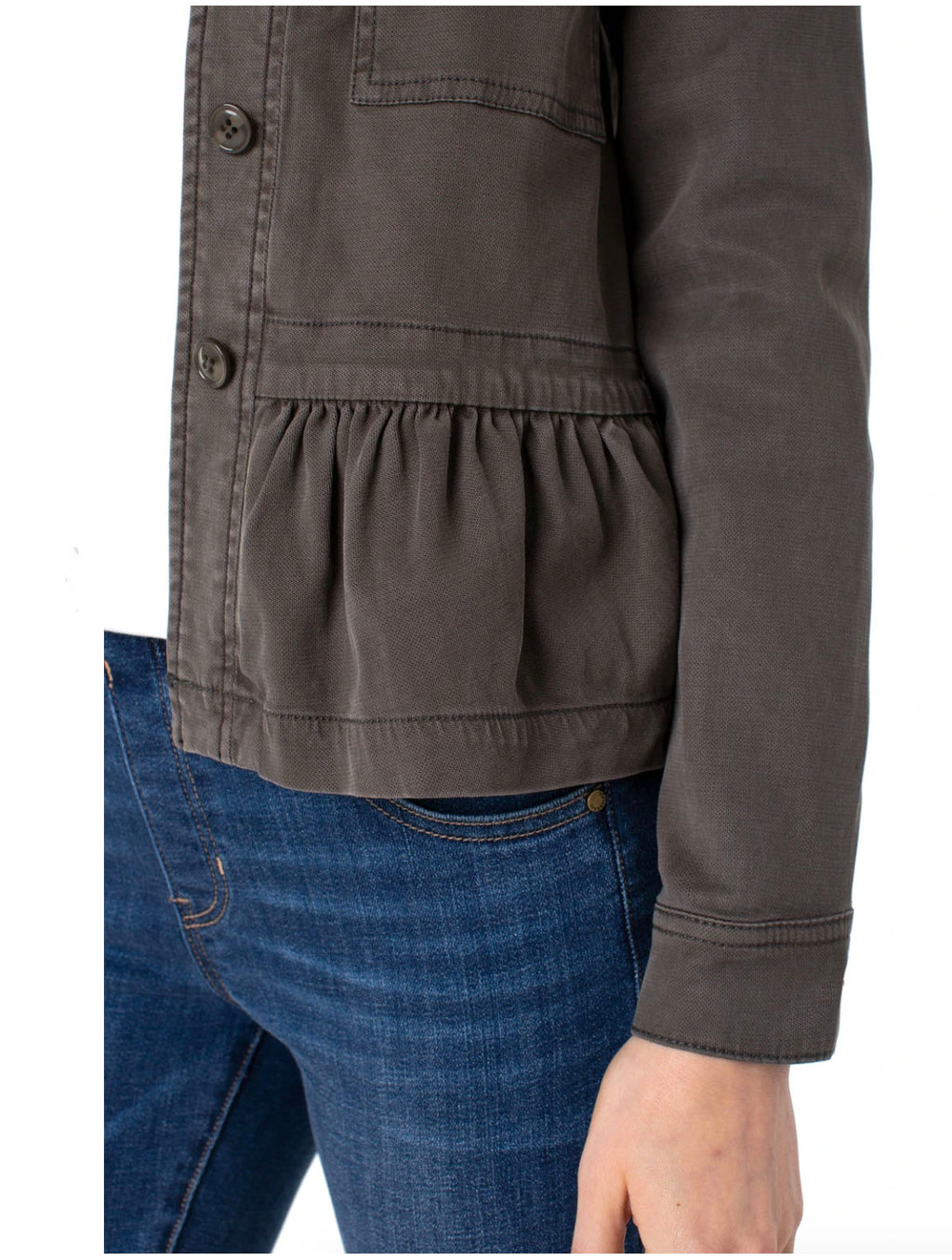 Livepool Peplum Cargo Jacket in Emerald