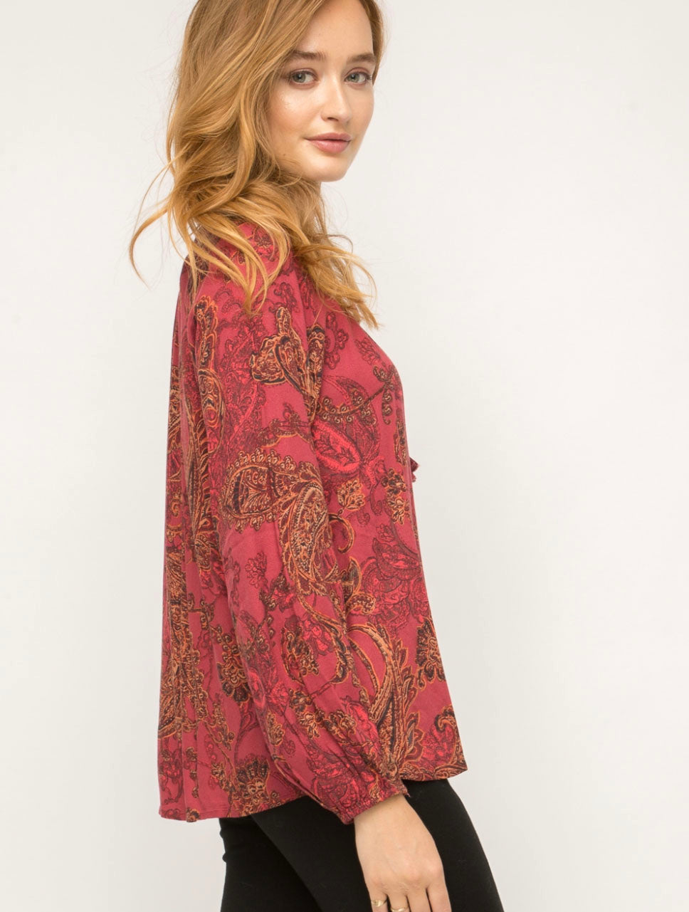 Mystree Smocked Peasant Top in Burgundy