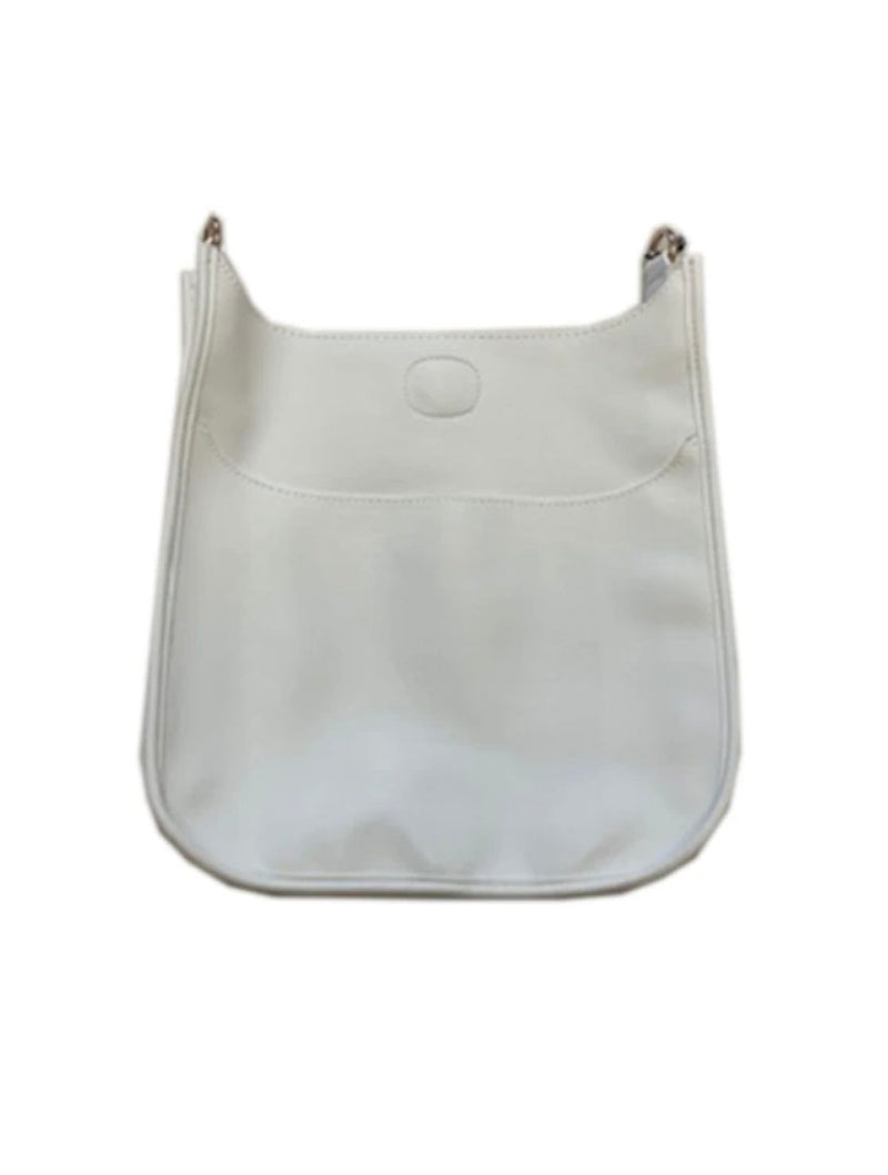 Ahdorned Faux Leather Large Messenger Bag in White-No Strap!