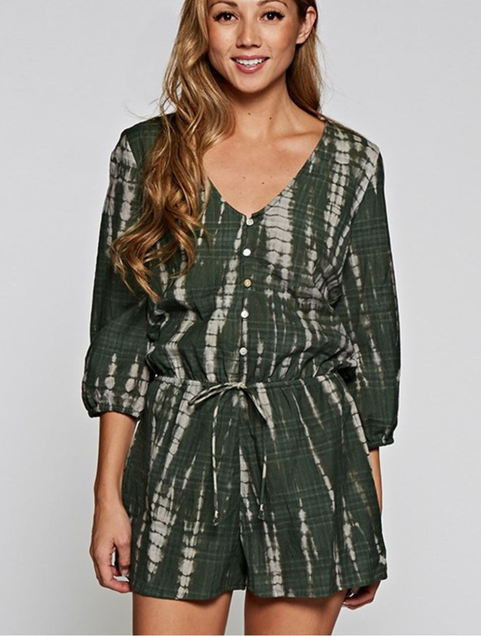 Love Stitch Tie Dye Romper in Army Green