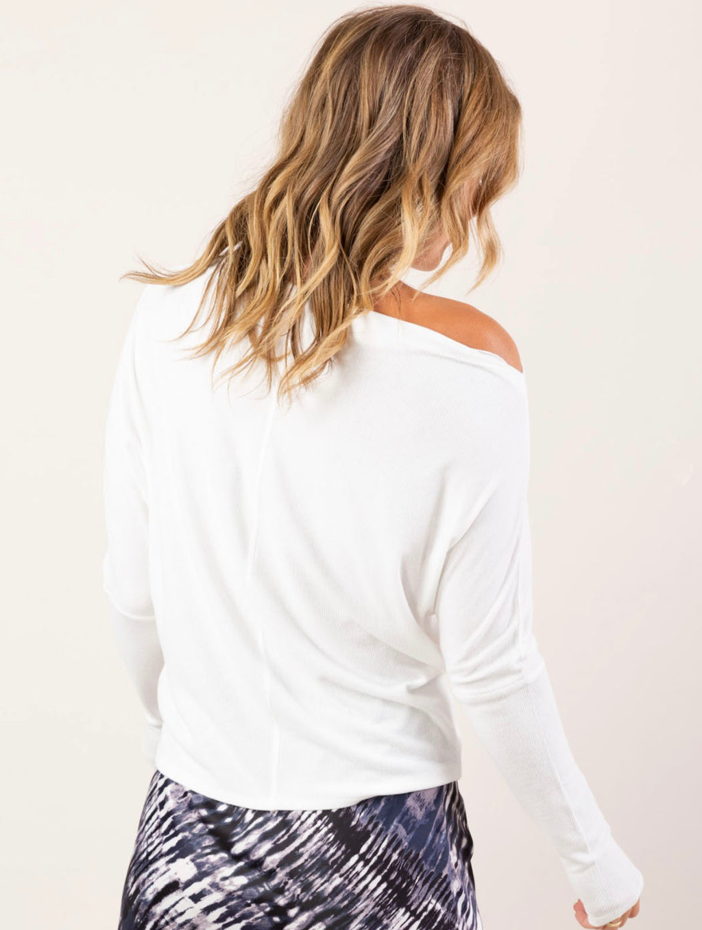 Love Stitch Ribbed Off-The-Shoulder Top in White