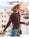 Love Stitch Front Knot Sweater in Burgundy