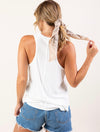 Love Stitch Ribbed Tank With Raw Edge in White