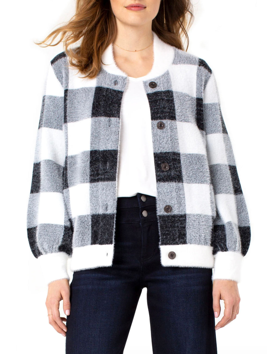 Liverpool Sweater Bomber in Black/White Check
