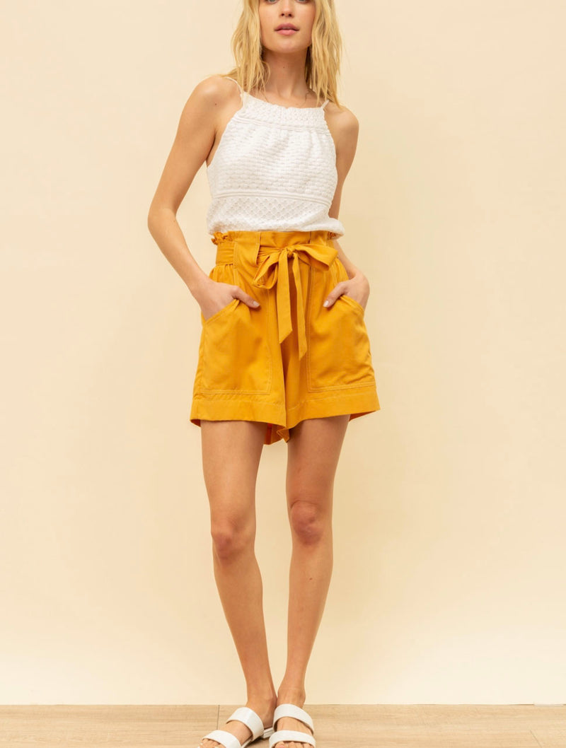 Hem & Thread Paper Bag Short in Mustard