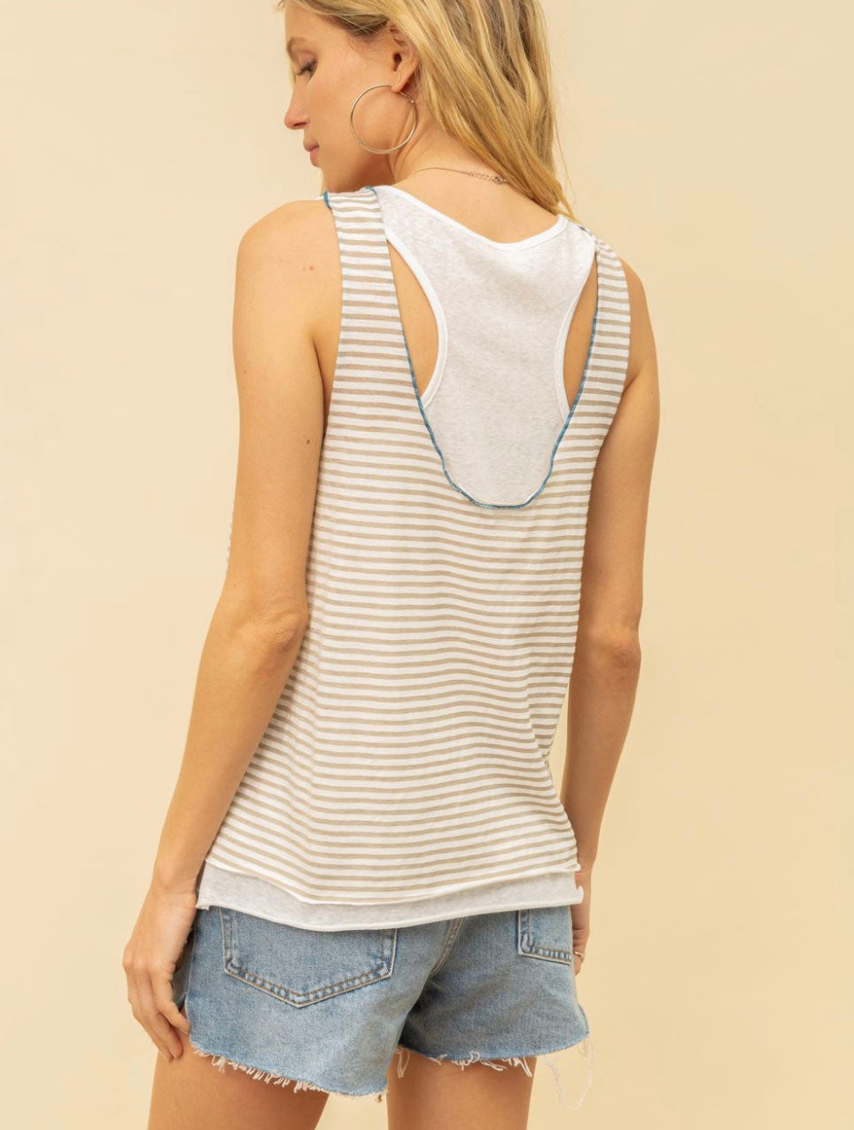 Hem & Thread Striped Tank Top in Grey