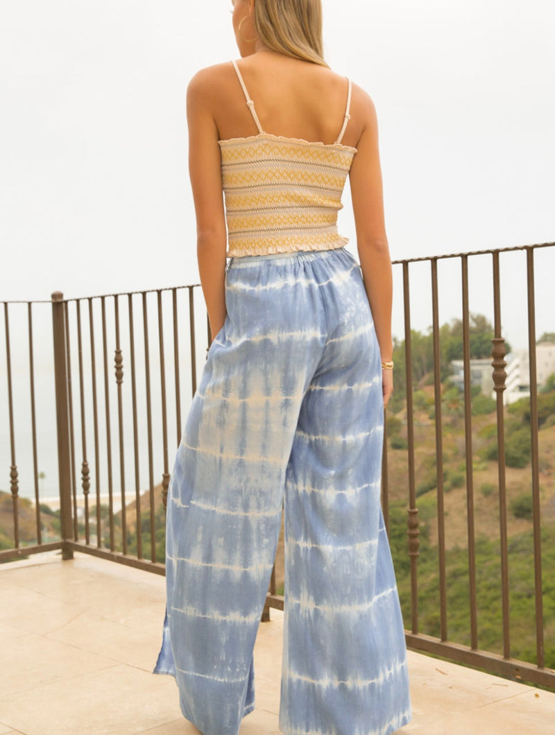 Hem & Thread Front Slit Pants in Sky Blue