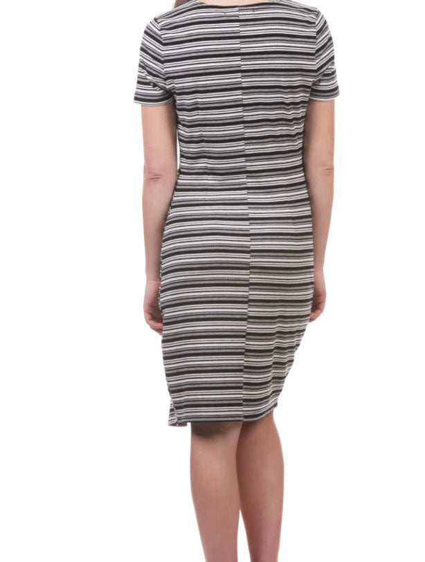 Neesha Striped Rib Knit Slit Dress with Snaps in Grey