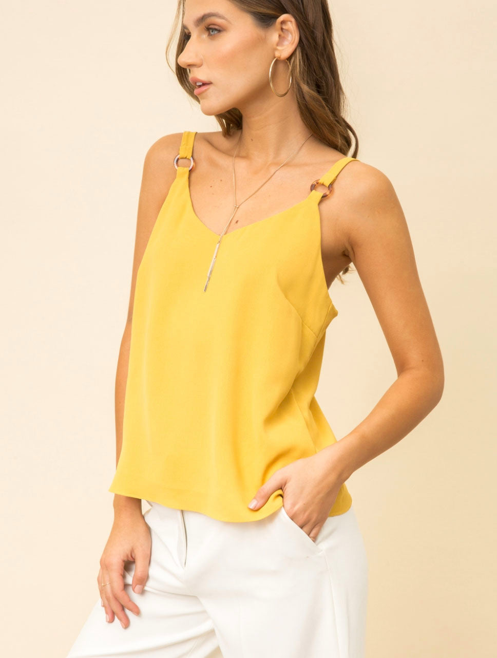 Hem & Thread Tortoise Ring Cami in Mustard