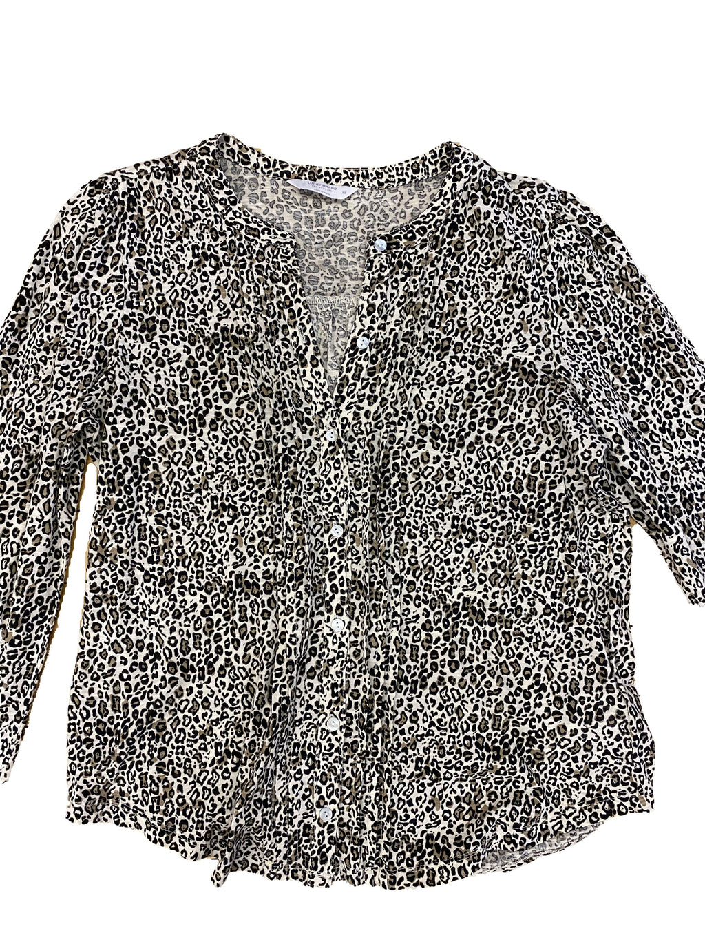 Lucky Brand Pleated Button Up Blouse in Leopard