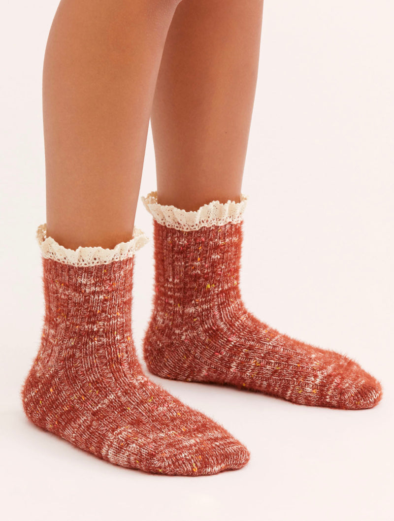 Free People Firecracker Flecked Ruffle Sock in Merlot