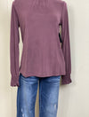 Lucky Brand Smocked Neck Top in Grape