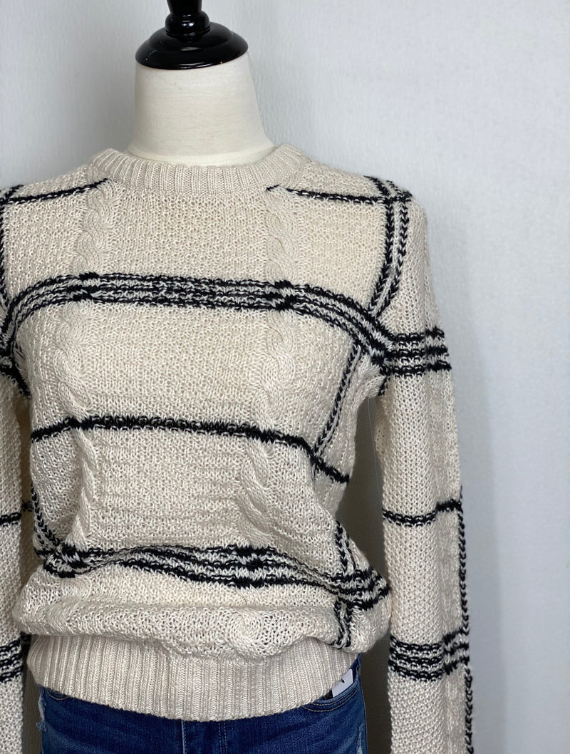 Lucky Brand Cable Knit Sweater in Cream/Black Stripe