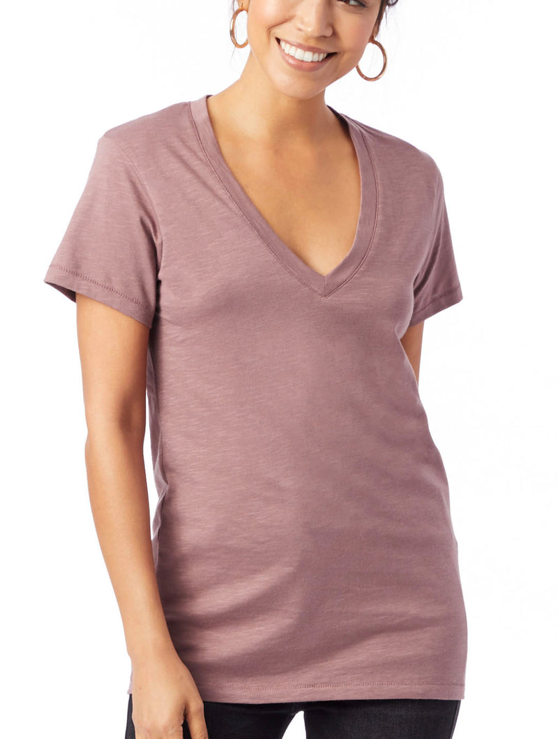 Alternative Apparel Slub V-Neck in Vintage Rose