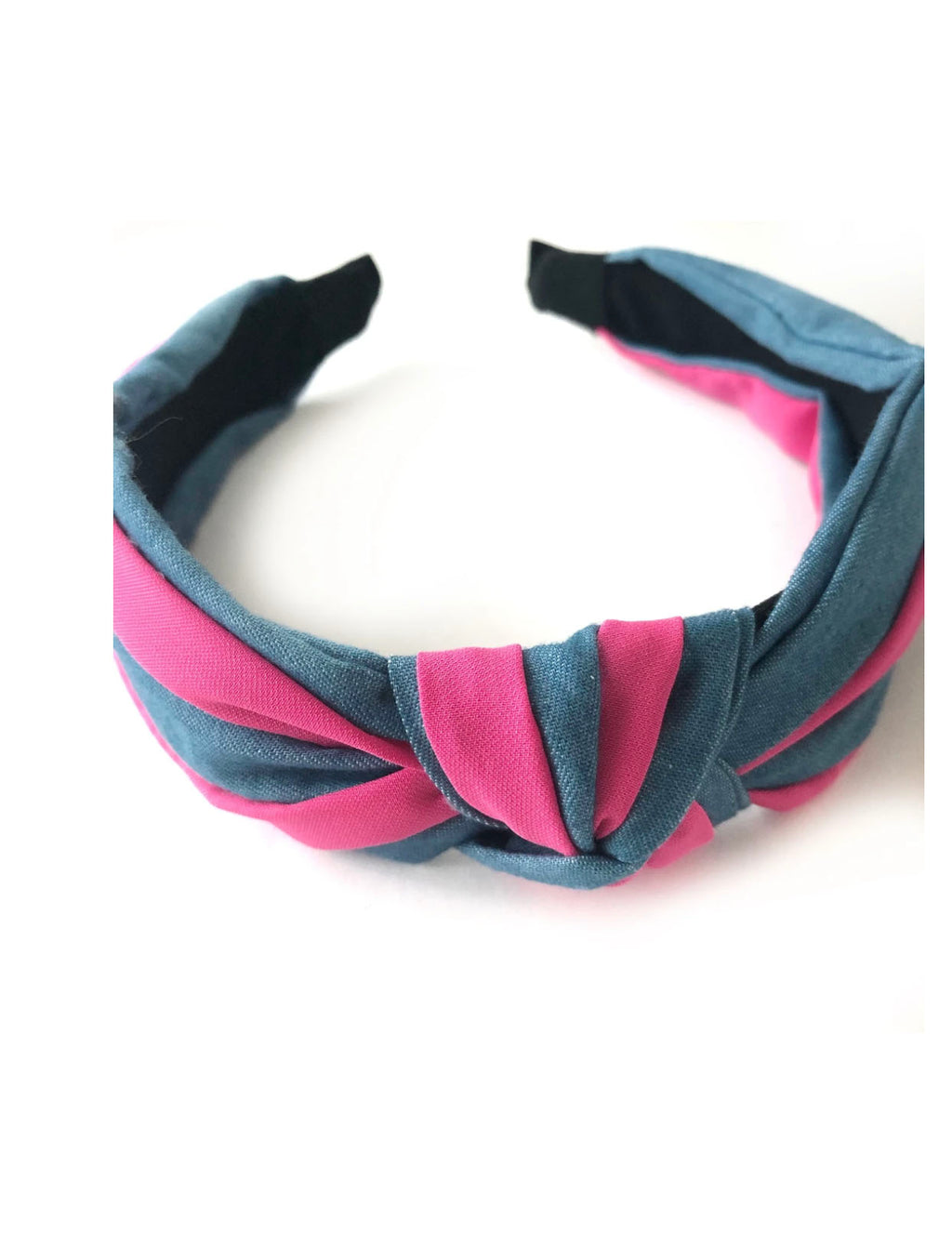 CRC Striped Headband in Pink and Chambray