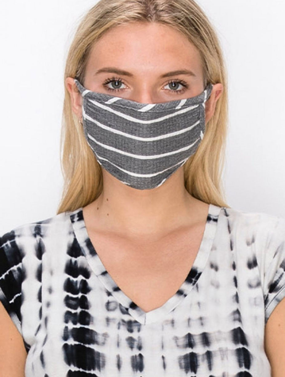 Coin 1804 Cotton Face Mask in Striped Grey