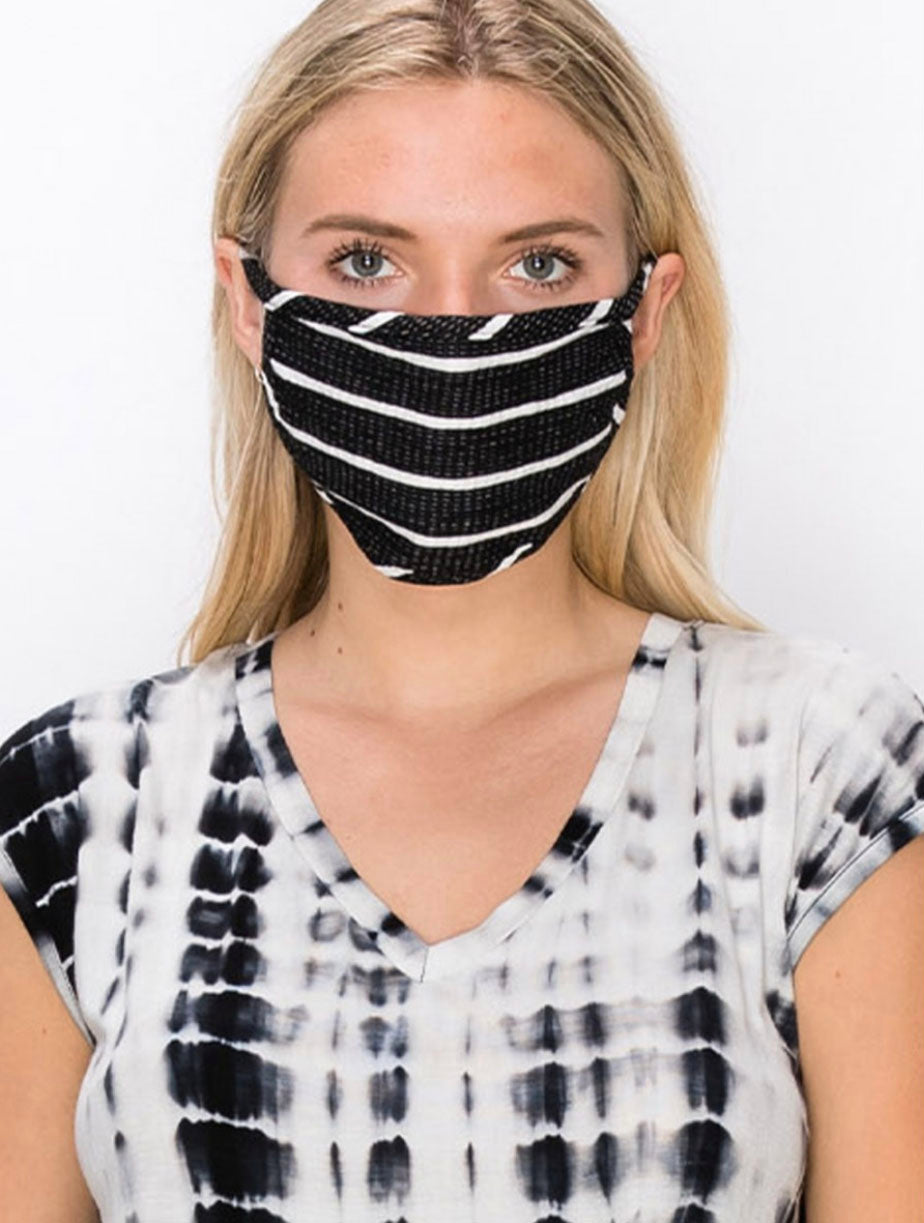 Coin 1804 Cotton Face Mask in Striped Black