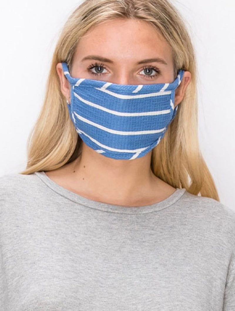 Coin 1804 Cotton Face Mask in Striped Blue
