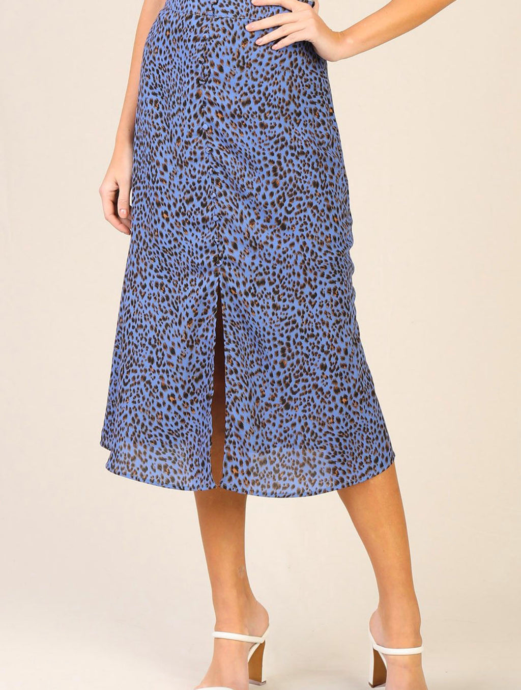 Skies Are Blue Button Front Midi Skirt in Blue