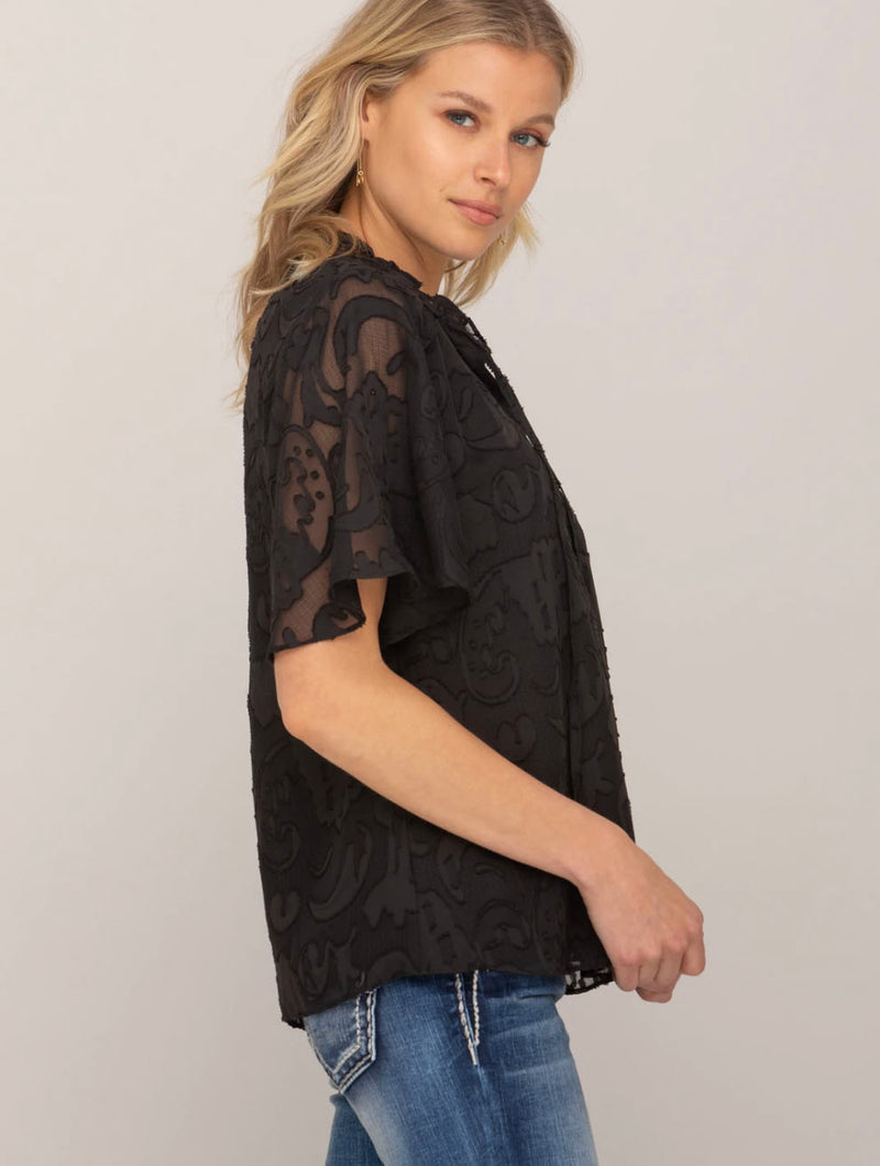 Miss Me Floral Blouse in Black