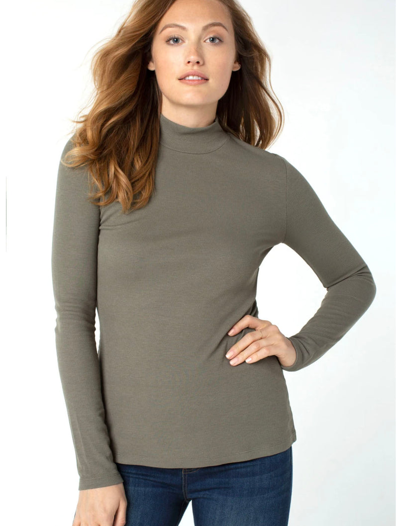 Liverpool Mock Neck Long Sleeve in Dusty Olive