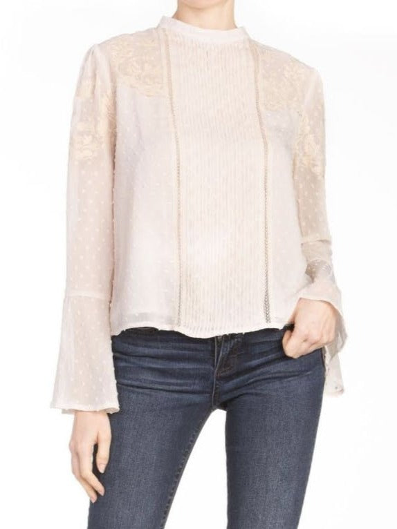 Miss Me Pleat Blouse in Ivory
