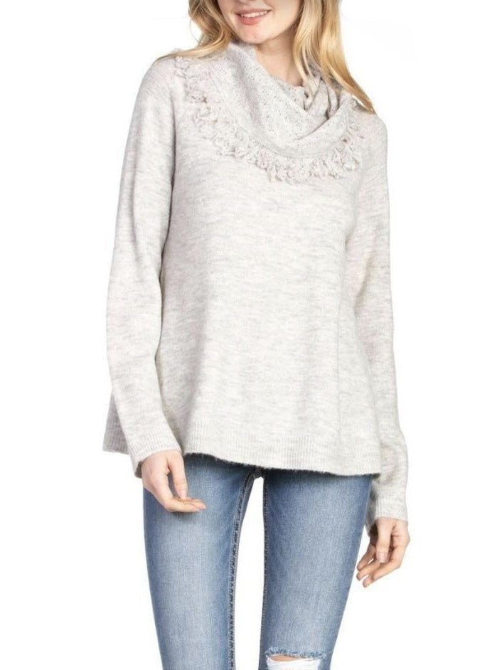 Miss Me Fringe Sweater in Grey