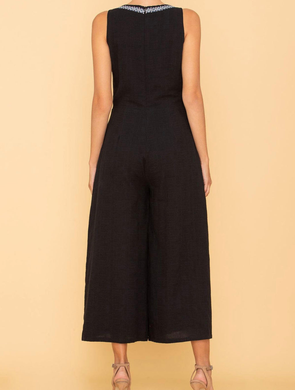 Miss Me Embroidered Jumpsuit in Black