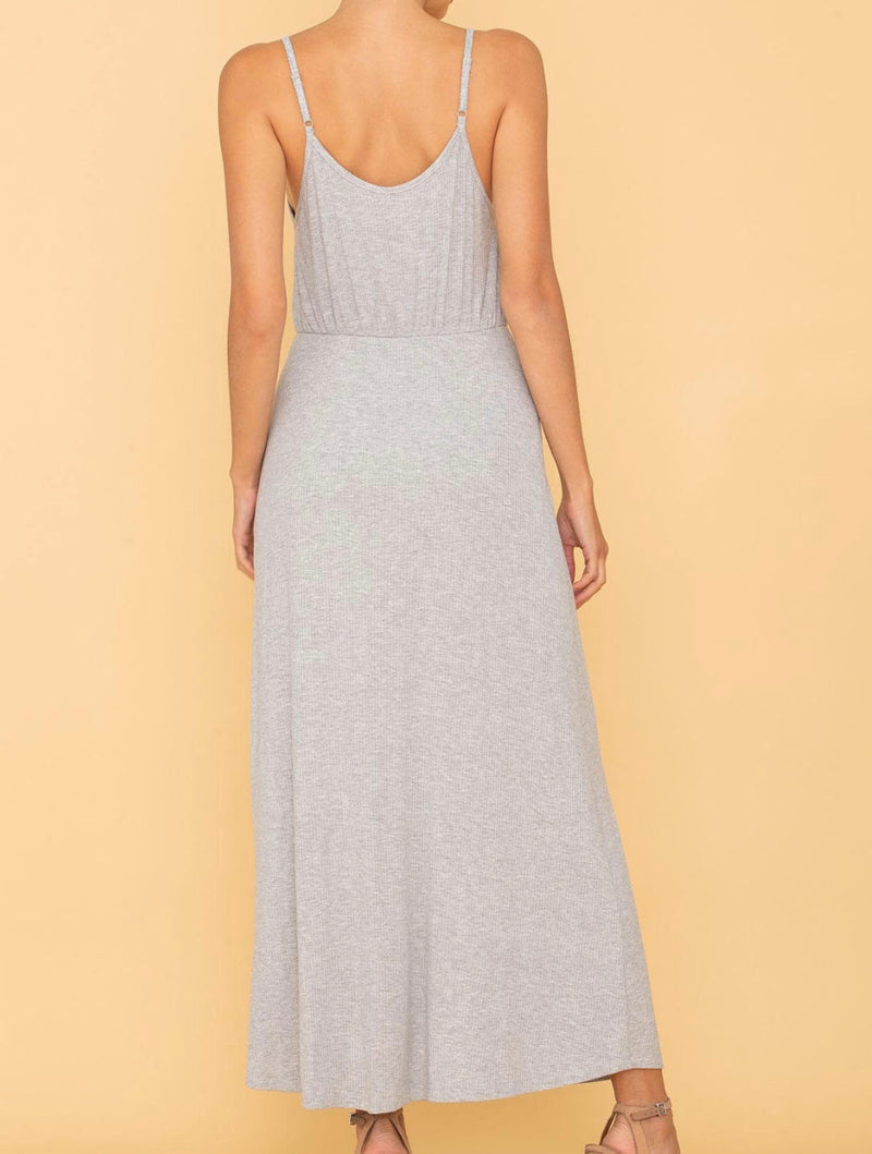 Miss Me Ribbed Maxi Dress in Ash Grey