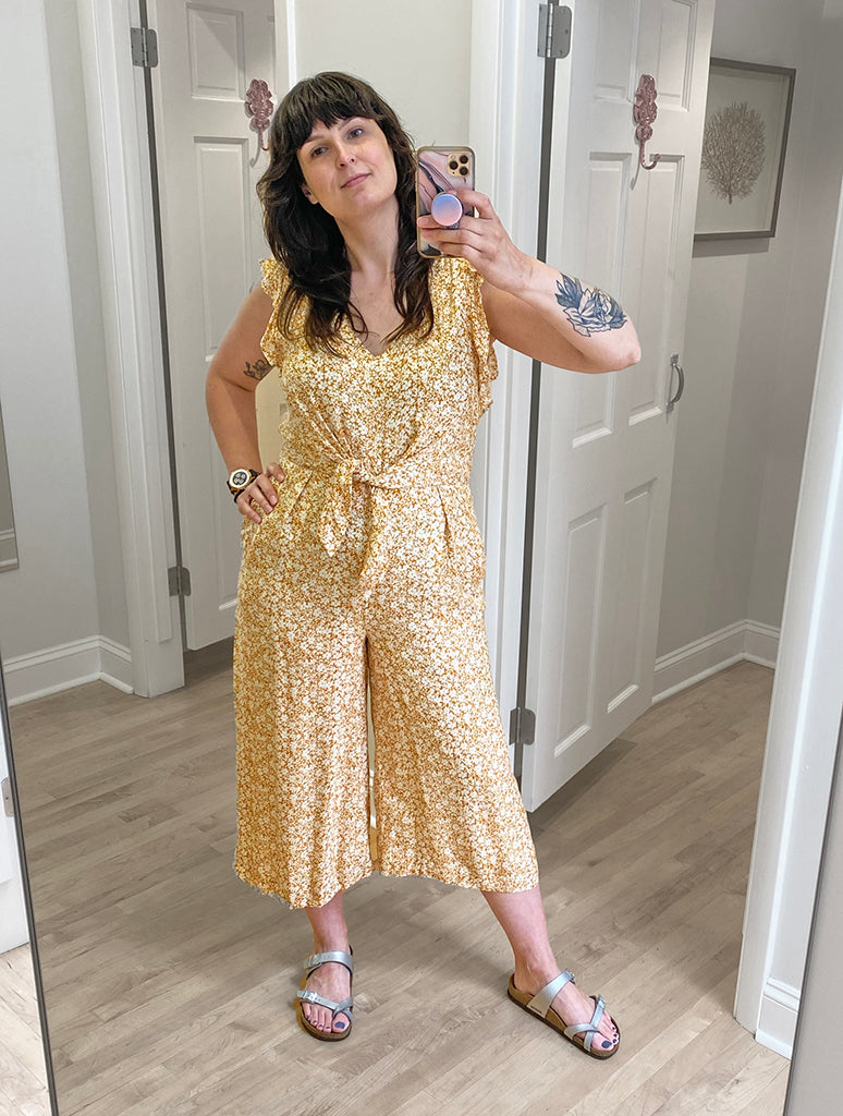 Miss Me Floral Jumpsuit in Mustard