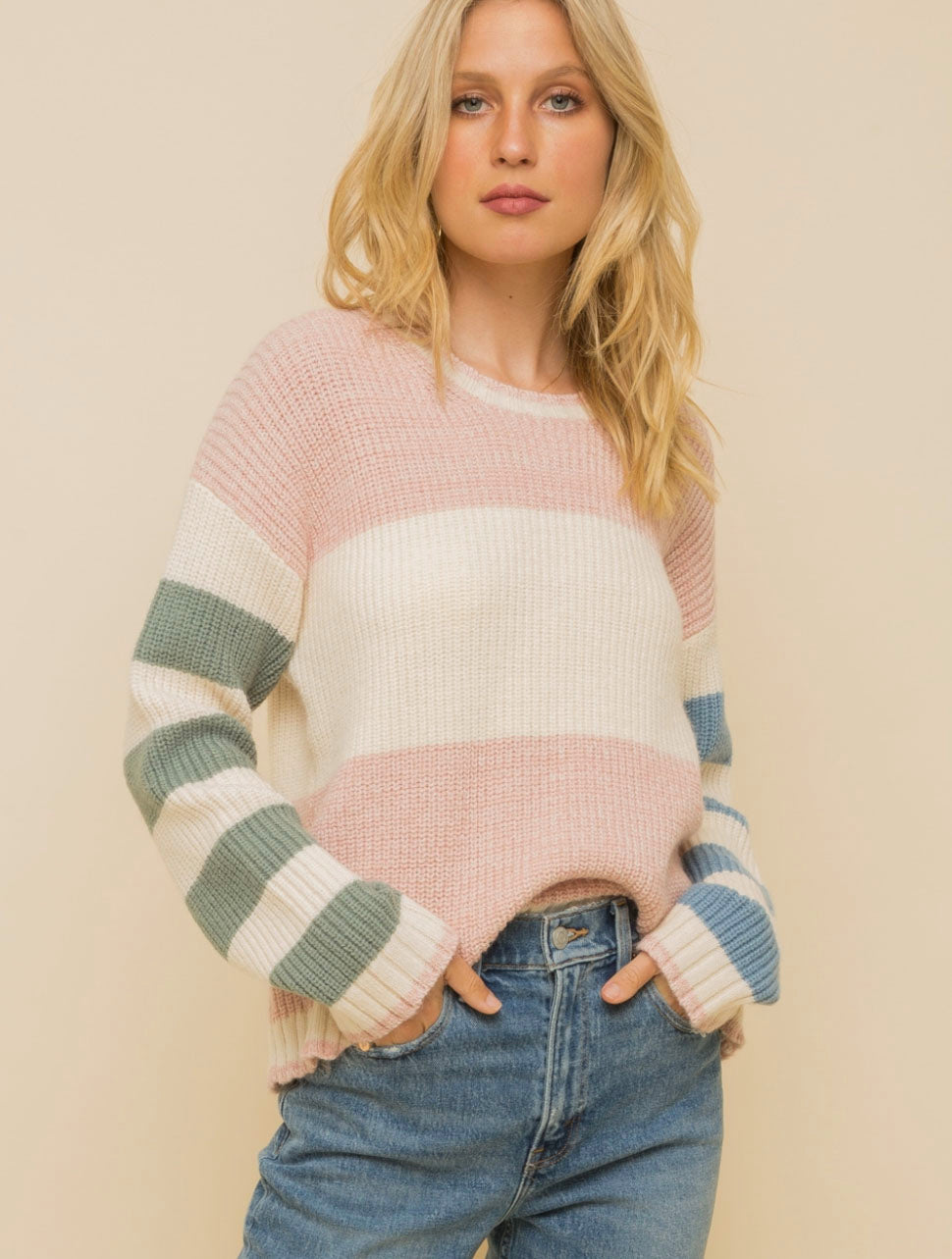 Hem & Thread Block Sweater in Blush
