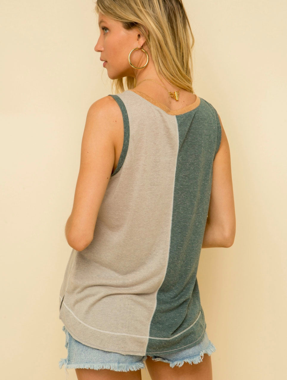 Hem & Thread Color Block Tank in Teal