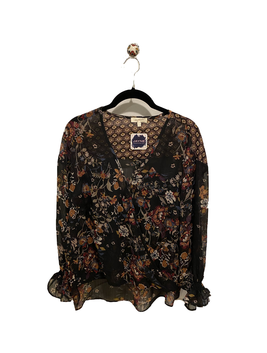 Mystree Cross Over Blouse in Black Floral