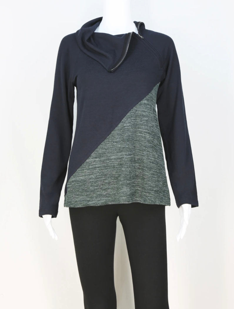 Neesha Zip Cowl in Black/Charcoal