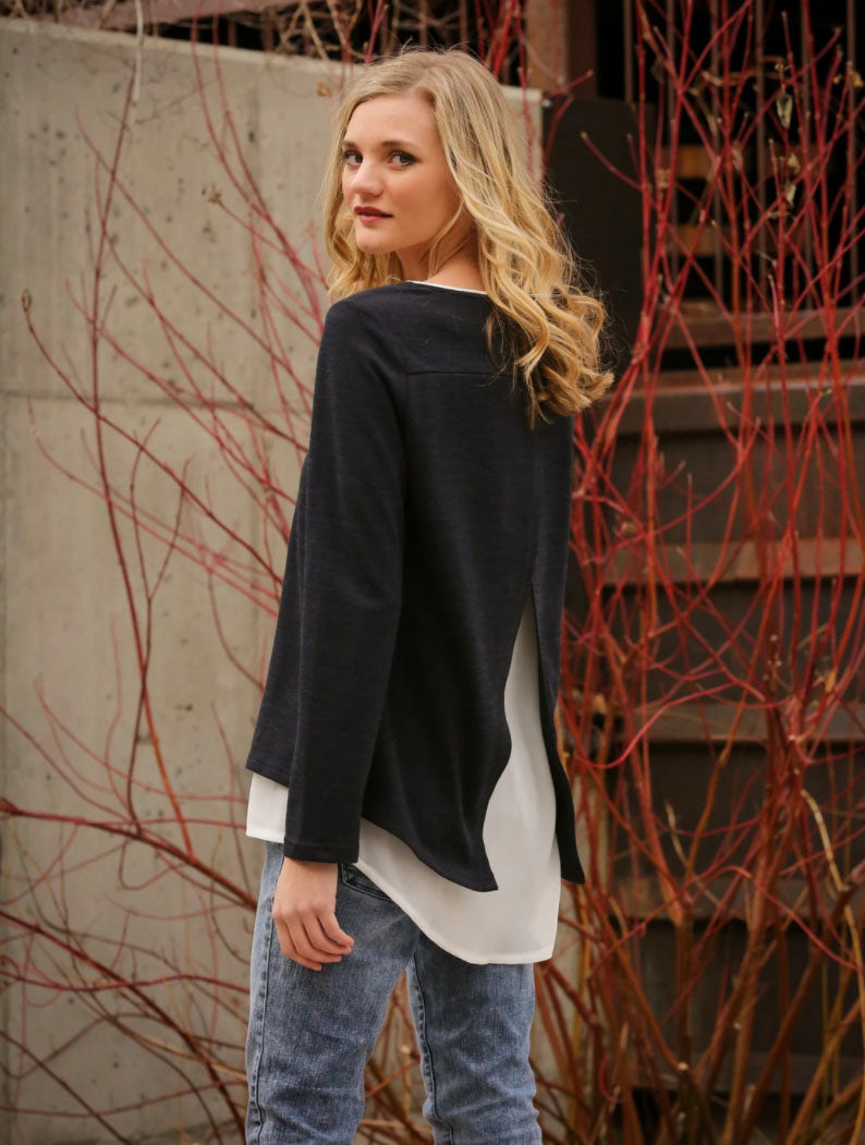 Neesha Open Back Layer Top in Black