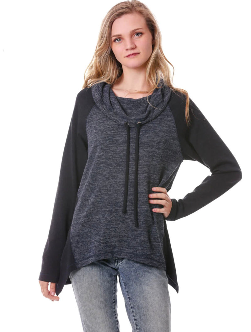 Neesha Irregular Hem Cowl Top in Navy