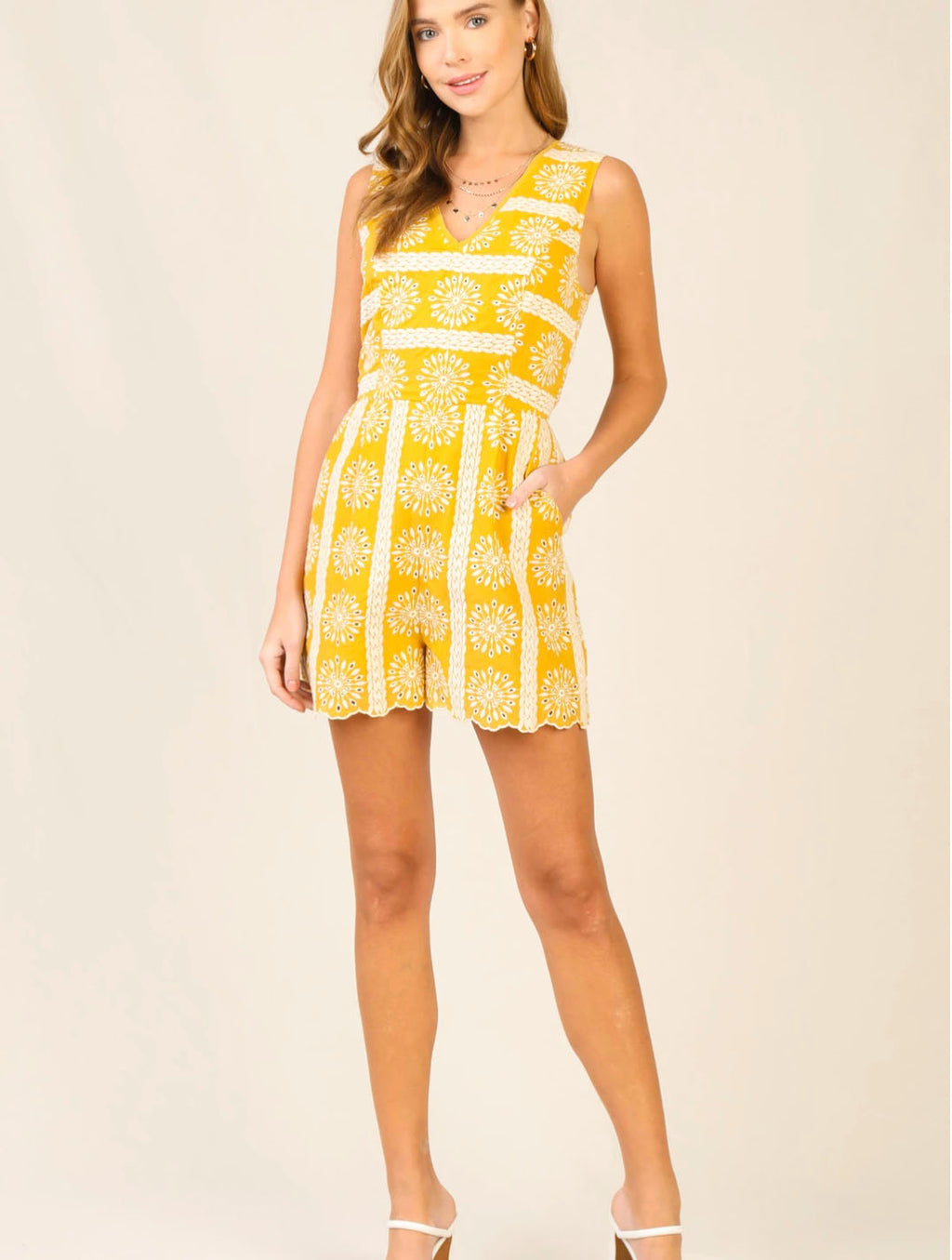 Skies Are Blue Eyelet Lace Romper in Yellow