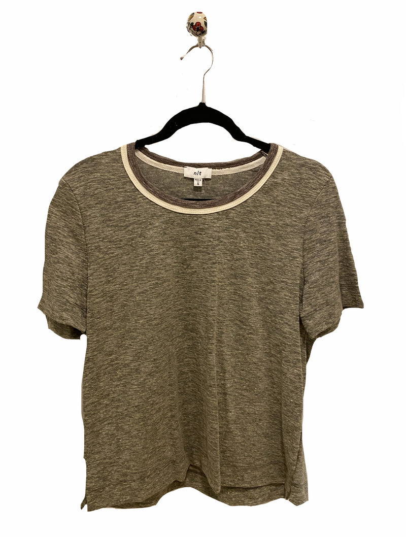 No Less Than Two Tone Tee in Olive/Bone