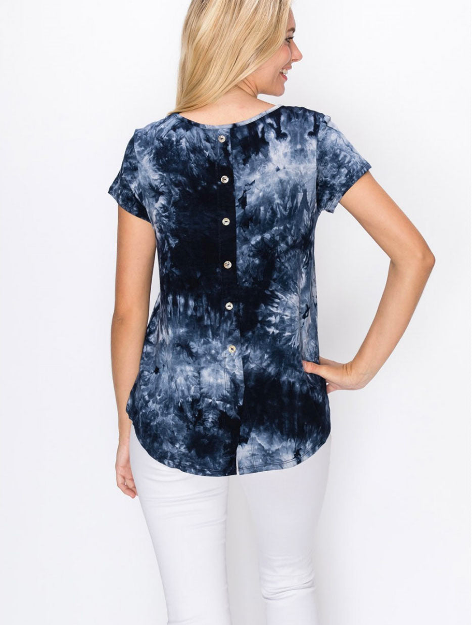 Coin 1804 Tie Dye Button Back Tee in Blue Multi
